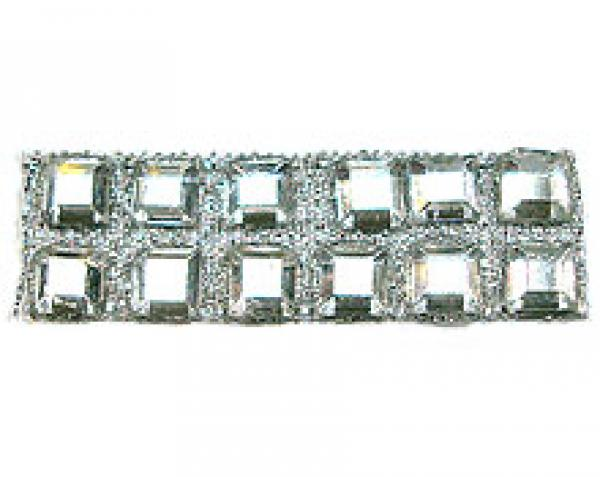 """Rhinestones by the Yard 4mm Crystal Square/ 3/8"""" Silver Band"""