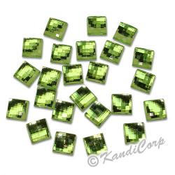 10mm Millefacet Square Peridot FlatBack
