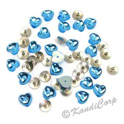 10mm Heart with Push Pins  Aquamarine FlatBack