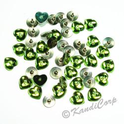 10mm Heart with Push Pins Peridot FlatBack