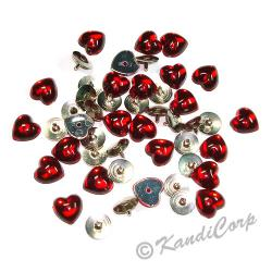10mm Heart with Push Pins Ruby FlatBack