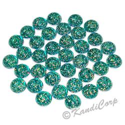 4mm Green Glitter HotFix Pearlstuds