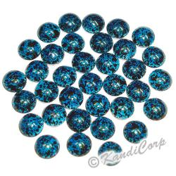 6mm Turquoise/Navy Marble Texture HotFix PearlStud