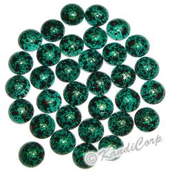 6mm Emerald/Black Marble Texture HotFix PearlStuds
