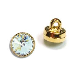 6mm (29ss) Swarovski #1770 Crystal Button - Gold Plastic Shank