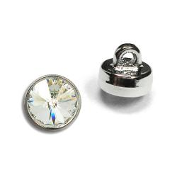 6mm (29ss) Swarovski #1770 Crystal Button - Silver Plastic Shank