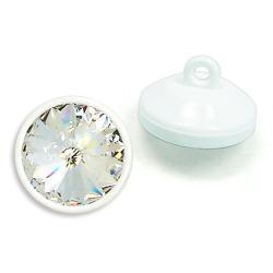 14mm Swarovski #1774 Crystal Button - White Plastic Shank