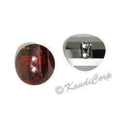 14mm Swarovski #3016 Potato Chip Button ~ Red Magma