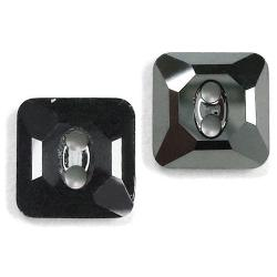12mm Swarovski #3017 Square Button ~ Jet