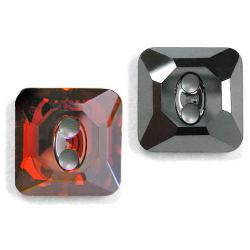 12mm Swarovski #3017 Square Button ~ Red Magma
