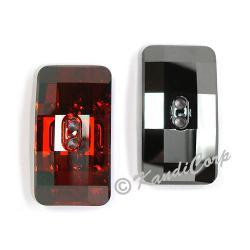 30x16mm Swarovski #3093 Chessboard Button ~  Red Magma