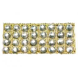 "Rhinestones by the Yard 3mm Crystal/ 1/4"" Gold Band"