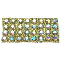 "Rhinestones by the Yard 3mm Crystal AB/ 1/4"" Gold Band"