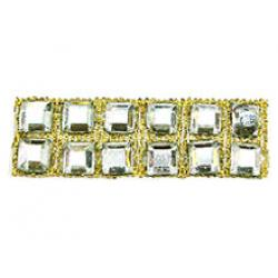 "Rhinestones by the Yard 4mm Crystal Square/ 3/8"" Gold Band"