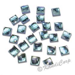 10mm Millefacet Square Aquamarine FlatBack