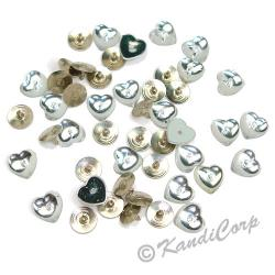10mm Heart with Push Pins  Crystal FlatBack