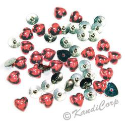 10mm Heart with Push Pins Coral FlatBack