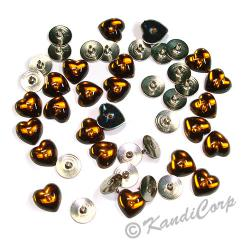 10mm Heart with Push Pins Cognac FlatBack