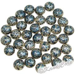 6mm Blue/Cream Marble Texture HotFix PearlStuds
