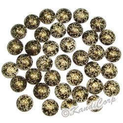 4mm Black/Gold Marble Texture HotFix PearlStuds