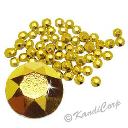 Round 3mm 10ss Gold HotFix Octagon Faceted RhineStuds
