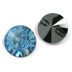 12mm Swarovski #3015 Rivoli Round Button ~ Aquamarine