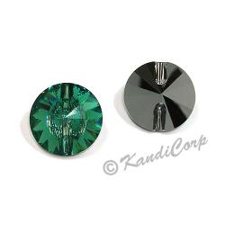 14mm Swarovski #3015 Rivoli Round Button ~ Erinite