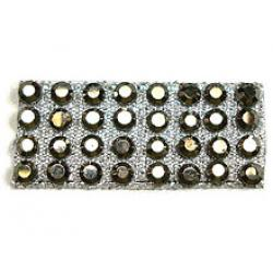 "Rhinestones by the Yard 3mm GunMetal/ 1/4"" Silver Band"
