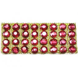 "Rhinestones by the Yard 3mm Rose/ 1/4"" Gold Band"