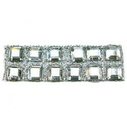 "Rhinestones by the Yard 4mm Crystal Square/ 3/8"" Silver Band"