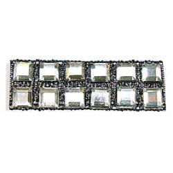 "Rhinestones by the Yard 4mm Crystal Square/ 3/8"" Black Band"
